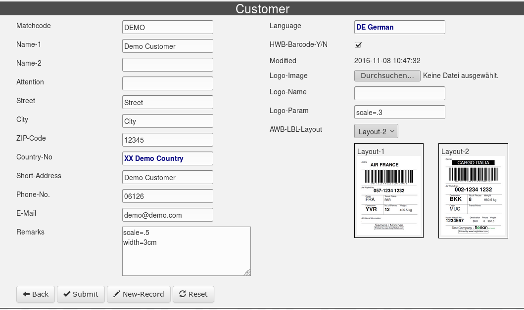 Customer Entry Form