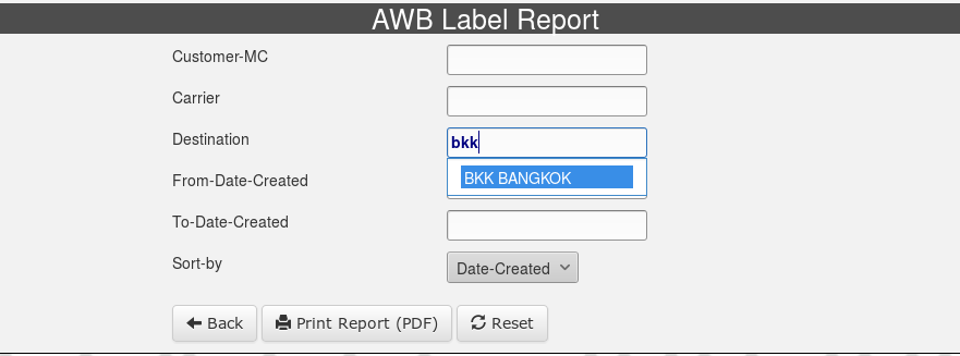 AWB Label Report Selection