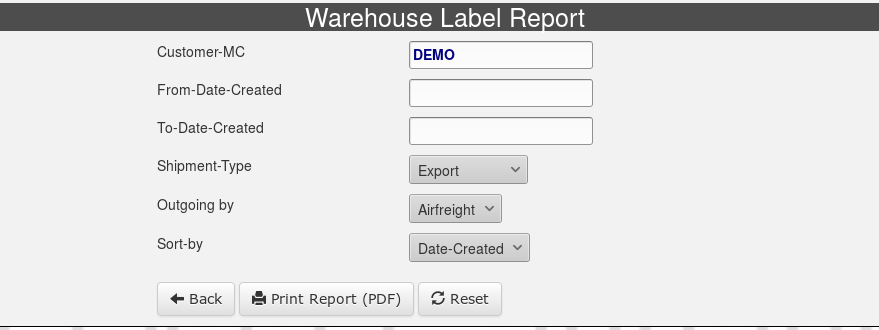 Warehouse-Label-Report-Selection