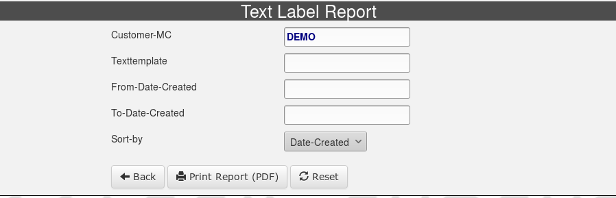 Text Label Report Selection